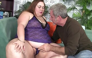 Hot BBW brunette craving for hard penis between her tits and legs