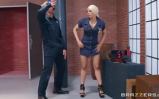 Cop babe Luna Star mounts and rides a big fat dick at work