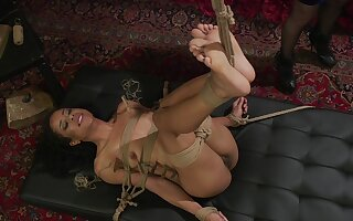 Submissive ebony bitch roughly fucked in bondage XXX