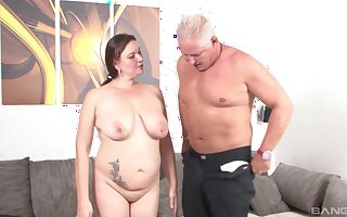 Old man slides his unearth in sloppy pussy of his of age wife Inge