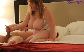 Amateur hotel Handjob & blowjob by fat ass BBW lady