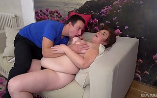 Old broad Sandra enjoys tit sucking and cunnilingus before rough banging