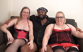 Sexy unskilful PAWG chicks kitchen garden BBC in homemade interracial threesome