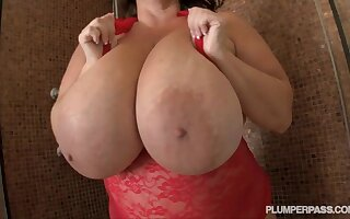 Wet BBW Mari - giant monster tits soaped up upon shower
