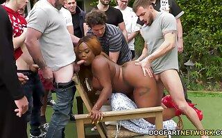 Obese black stripper Jayden Star for several white bachelors